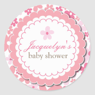 Baby Girl Flower Shower Thank You Favor Sticker