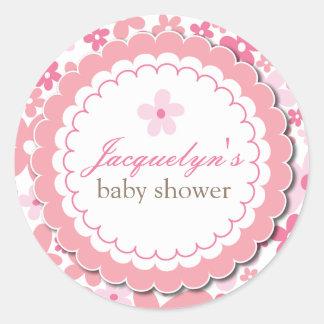 Baby Girl Flower Shower Thank You Favor Sticker Round Sticker