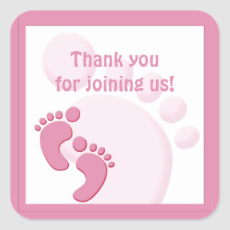 Baby Girl Footprint Little Feet Party Favor Square Sticker