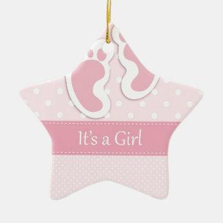 Baby Girl Footprints Adorable Ceramic Ornament