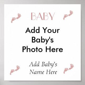 "Baby Girl ""Footprints"" Canvas Art Poster"