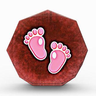 baby girl footprints feet cute expecting newborn acrylic award