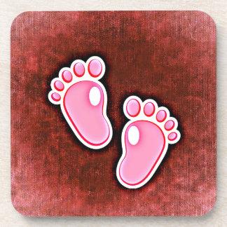 baby girl footprints feet cute expecting newborn beverage coasters