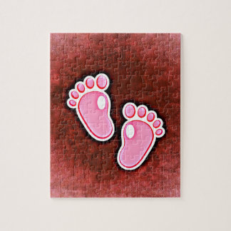 baby girl footprints feet cute expecting newborn jigsaw puzzle