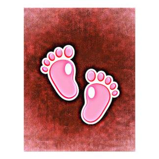 baby girl footprints feet cute expecting newborn letterhead