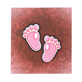 baby girl footprints feet cute expecting newborn note pad