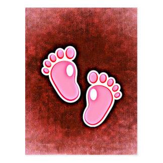 baby girl footprints feet cute expecting newborn postcard
