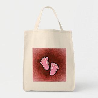 baby girl footprints feet cute expecting newborn tote bag