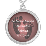 Baby Girl Footprints Personalized Name Pendant Round Pendant Necklace