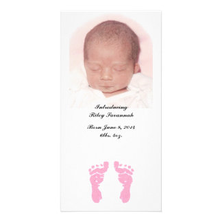"""""""Baby Girl Footprints"""" Photo Birth Announcements"""