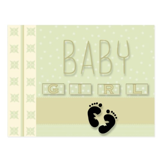 Baby Girl Footprints Postcard
