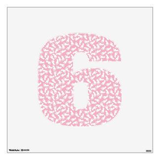 Baby Girl Footprints Wall Decal Number Six-Medium