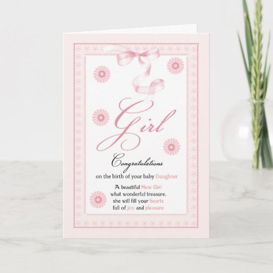 Baby Girl Girl Congratulations New Baby Card