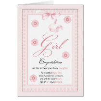 Baby Girl, Girl, Congratulations New Baby Card
