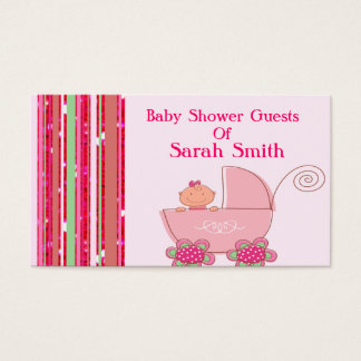 Baby Girl & Glittery Strawberry Pink Baby Shower Business Card