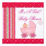 """Baby Girl & Glittery Strawberry Pink Baby Shower 5.25"""" Square Invitation Card"""
