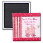 Baby Girl & Glittery Strawberry Pink Baby Shower Magnet