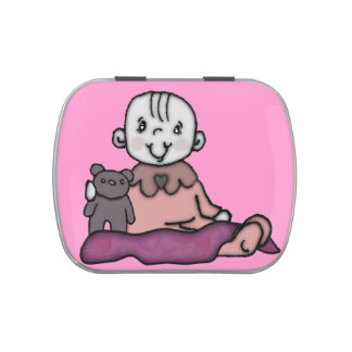 Baby Girl & Her Bear Jelly Belly Candy Tins