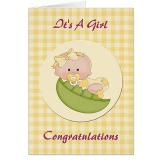 Baby Girl in a Pod Lemon Gingham Card