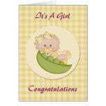 Baby Girl in a Pod Lemon Gingham Greeting Card