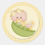 Baby Girl in a Pod Lemon Gingham Round Sticker