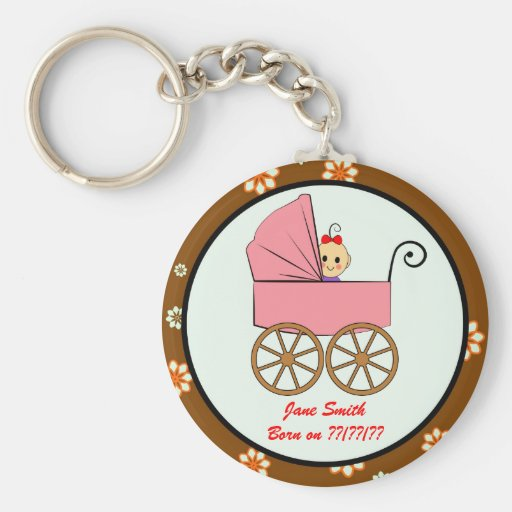 baby girl in a stroller keychains