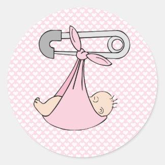 Baby Girl in Blanket Classic Round Sticker
