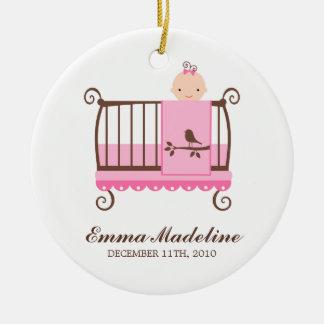 Baby Girl in Crib Ceramic Ornament