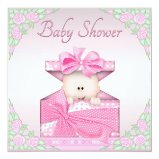 Baby Girl in Gift Box and Roses Baby Shower Card