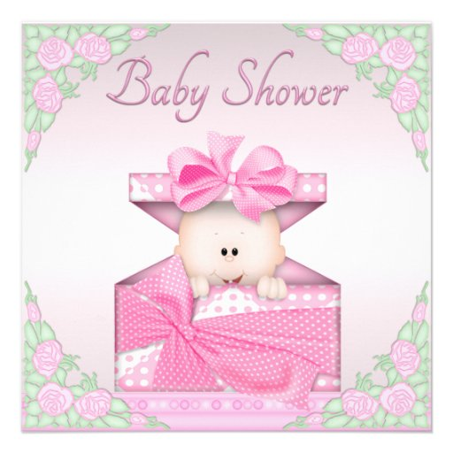 Baby Girl Gift Box : Baby girl in gift box and roses shower