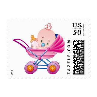 ***BABY GIRL IN PINK BABY BUGGY***U S POSTAL STAMP