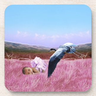 Baby girl in pink drink coaster