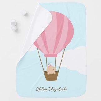 Baby Girl in Pink Hot Air Balloon Receiving Blanket