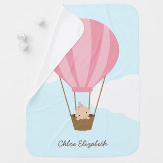 Baby Girl in Pink Hot Air Balloon Receiving Blanket