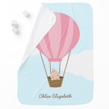 heartlocked Baby Girl in Pink Hot Air Balloon Receiving Blanket