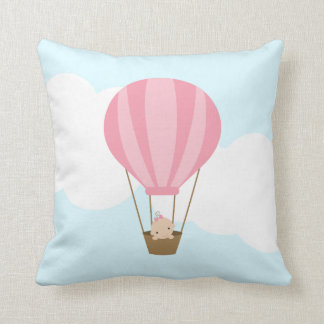 Baby Girl in Pink Hot Air Balloon Throw Pillow