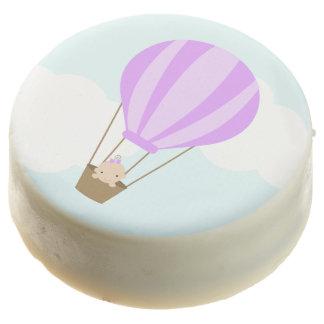 Baby Girl in Purple Hot Air Balloon Chocolate Dipped Oreo