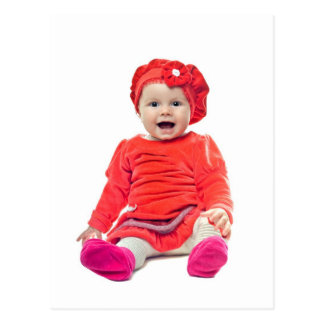 Baby girl in red dress postcard