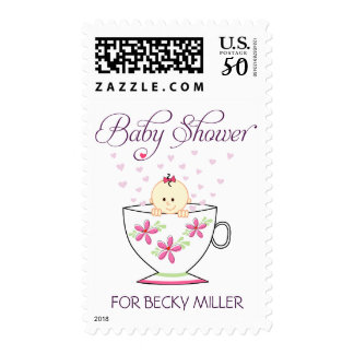 Baby Girl in Tea Cup Postage