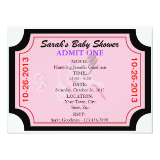 Baby Girl Invitation Admit One Customized