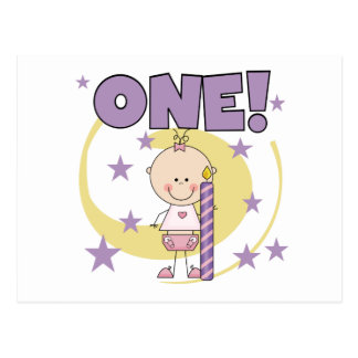 Baby Girl is One Birthday Tshirts and Gifts Postcard