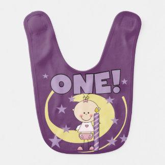 Baby Girl is One First Birthday Bib