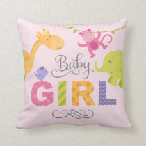 Baby Girl | Jungle Animals Throw Pillow