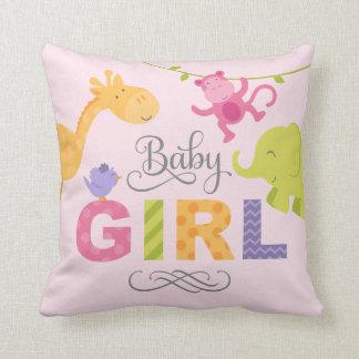 Baby Girl   Jungle Animals Throw Pillow
