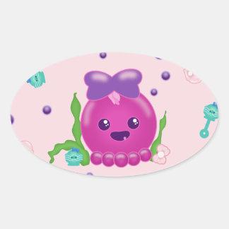 Baby Girl Kawaii Octopus Oval Sticker