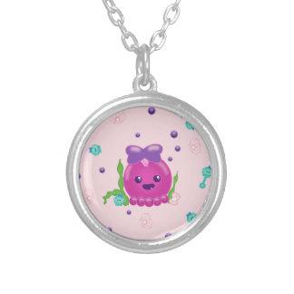 Baby Girl Kawaii Octopus Round Pendant Necklace