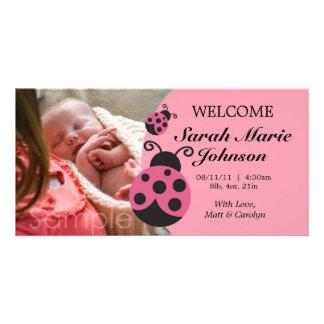 Baby Girl Ladybug Birth Announcement Custom Photo Card