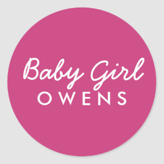 Baby Girl Last Name Baby Shower Sticker-Pink White Classic Round Sticker
