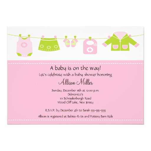 baby girl laundry clothesline baby shower announcements zazzle