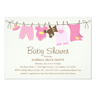 Baby Girl Laundry | Pink/Brown Card
